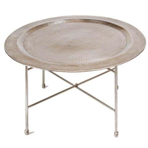 Nickel finished handmade hammered metal round living room coffee table