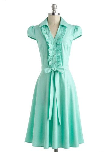 About the Artist Dress in Mint - Cotton, Long, Summer, Mint, Solid, Buttons, Ruffles, Belted, Casual, A-line, Cap Sleeves, Collared, Vintage Inspired, 50s, Pastel, Spring, Variation