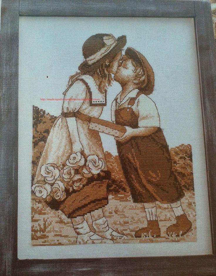 Girl got basket of flower Kissing a Boy in field 1