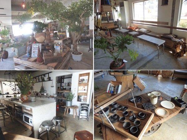 (左上)広い空間にたくさんのグリーンが置かれている。棚は廃材を再利用して作られており移動ができるようになっていた<br> (右上)廃材を使って作られたテーブルやイス。真新しくない木の質感がぬくもりを感じられる<br> (左下)キッチンスペース。料理や植物、本などと関連するイベントやパーティーで重宝しそうである<br> (右下)廃材でつくられた雑貨が並ぶ。事務所にある加工場で作成されたそうだ