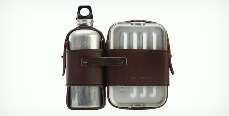 Mens Leather and Tin Lunch Box | Cool Material / Wiebe Teerstra for Thomas Eyck and the leather casing from De Buffel leatherworks and Kuperus & Gardenier