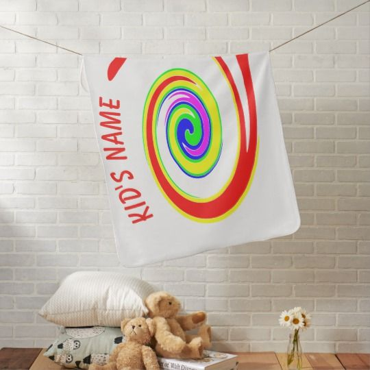 Multicolored swirl baby blanket, personalized, customized, graphics, picture, gift, artwork, buy, sale, gift ideas, zazzle, shop, discount, name, multicolor, twirl, swirl, bright, red, yellow, green, blue, purple, rainbow, colorful, fun, funny