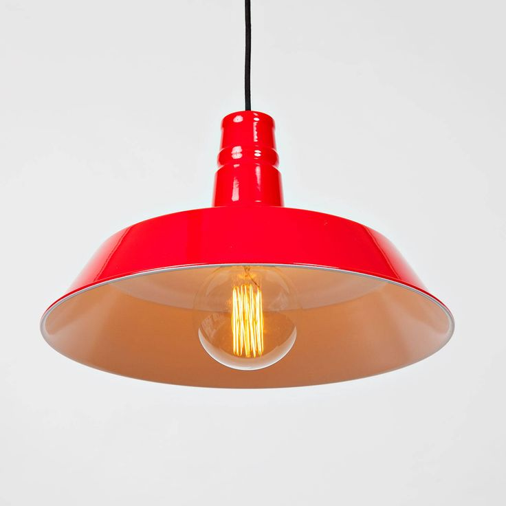 Modern farmhouse hanging pendant with vintage edison bulb red gloss enamel finish industrial vintage retro