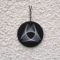 Small String Art Circular Wall Hanging Minimalist Geometric Black and White