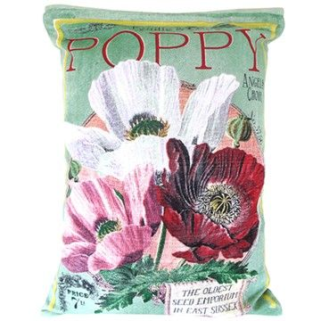 This In Bloom Poppy Cushion is beautifully styled liked a vintage seed packet with wonderful attention to detail. It will look splendid in any room, especially the bedroom, conservatory or living room. www.cloth-ears.co.uk #flower #floral