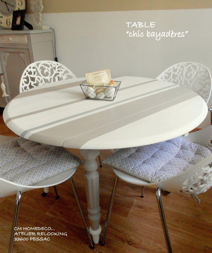 meuble relooké table bois massif relookée déco cosy bord de mer ronde à rabats blanc à rayures bayadères