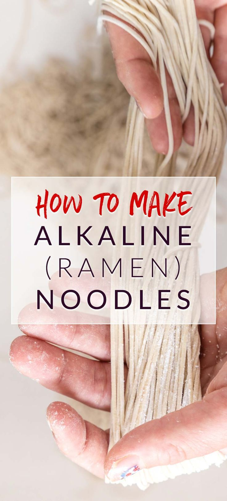A tutorial on how to make ramen noodles from scratch. Homemade alkaline noodles are worth every effort and the recipe is vegan friendly.