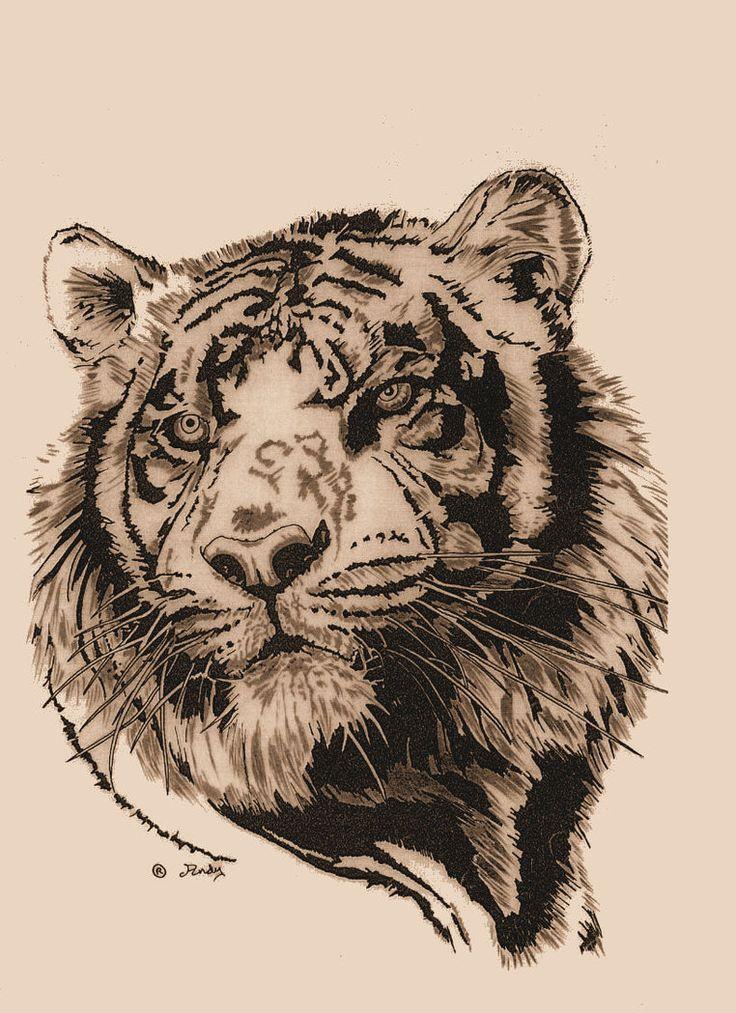 Cute Grey Ink Tiger Head Tattoo Design