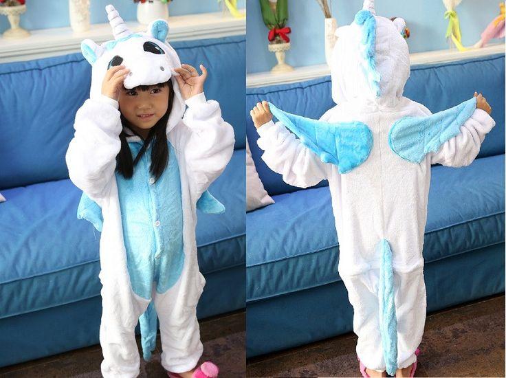 Kid's Blue Unicorn Pajama Hooded Onesie