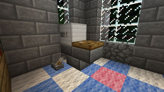 Minecraft Furniture - Bathroom Uses  the upside down stair block