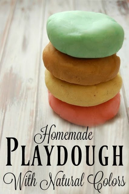 Homemade Playdough with Natural Colors - No more fake fragrances, artificial dyes, or petroleum! Making your own playdough is easy and fun!