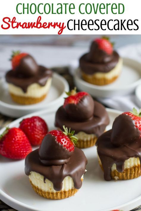 Light and fluffy, these delectable cheesecakes are topped with chocolate covered strawberries.