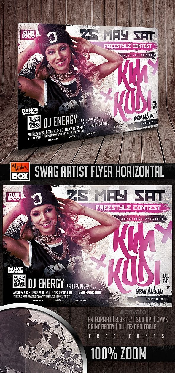 Swag artist flyer horizontal speakers flyers and photoshop for Horizontal menu templates free download
