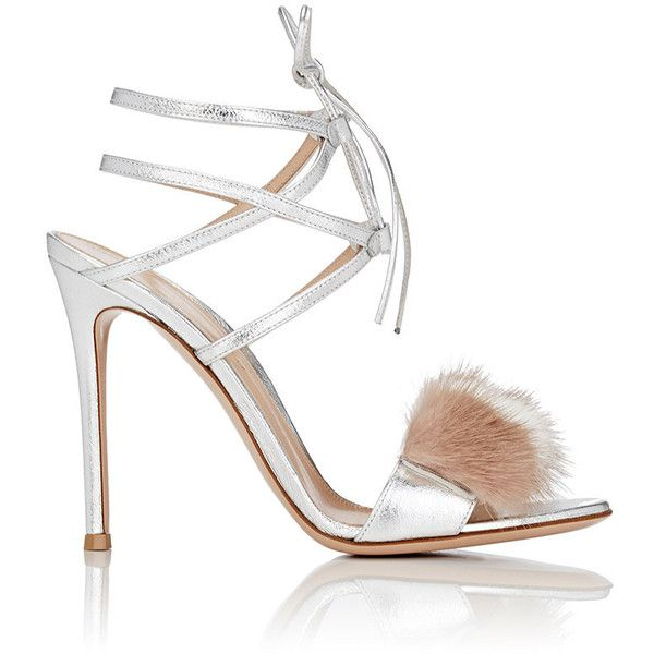 Gianvito Rossi Women's Zelda Sandals (9945 MAD) ❤ liked on Polyvore featuring shoes, sandals, gianvito rossi, heels, silver, high heel sandals, high heel stilettos, white leather shoes, heeled sandals and caged heel sandals