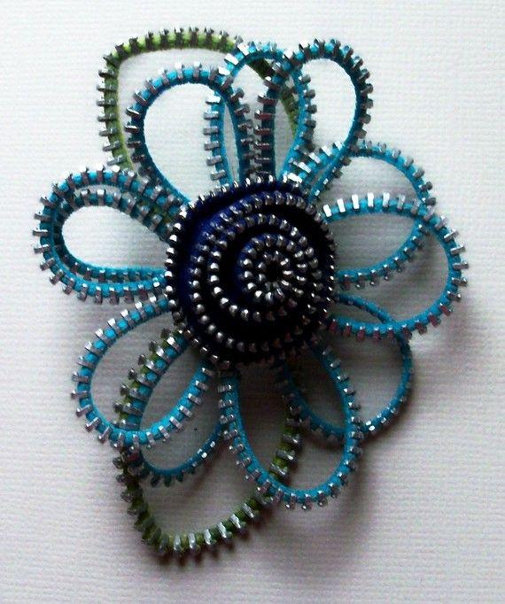 Zipper Flower brooch by Zip Pinning