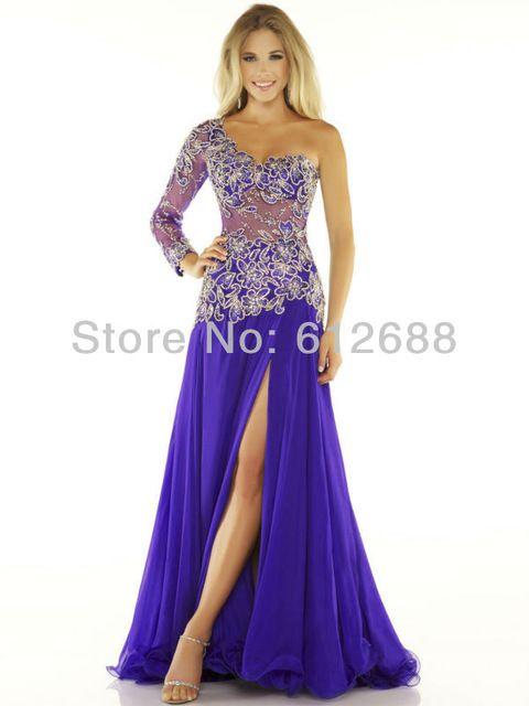 One Shoulder Appliques New Sexy Split Chiffon Purple Long Sleeve Evening dress