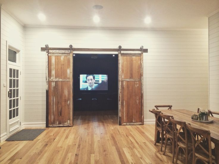 Recycled barn style doors living room theatre room Idea design decor country