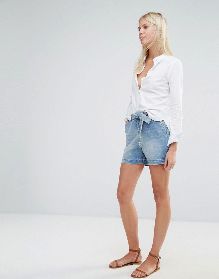 Image 1 ofVero Moda High Waisted Belted Denim Shorts