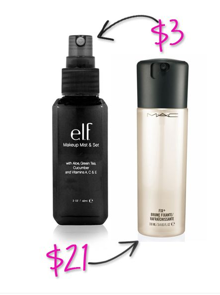 MAC's Fix+ spray has a lot of uses beyond simply refreshing your makeup with a light spritz. It works to dilute makeup, increase the intensity of shadows, and even doubles as a mixing medium (you can read more about how to use MAC Fix+ Spray or ELF Makeup Mist and Set).  Try: ELF Studio Makeup Mist & Set $3 MAC Fix+ $21