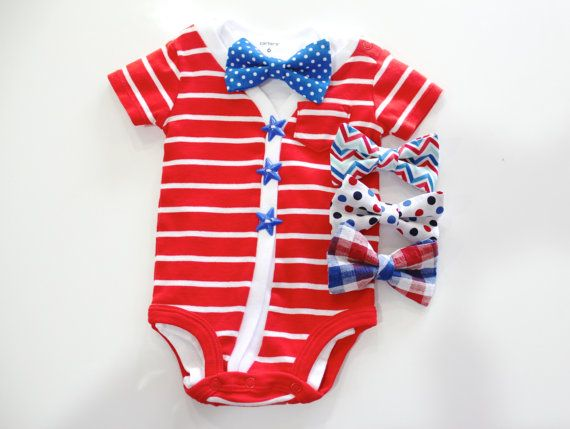 4th of July Baby Cardigan oneise.  Red and blue stars.  Baby bowtie outfit.  Newborn outfit. welcome home July 4th patriotic. boys bow tie Memorial day etsy handmade