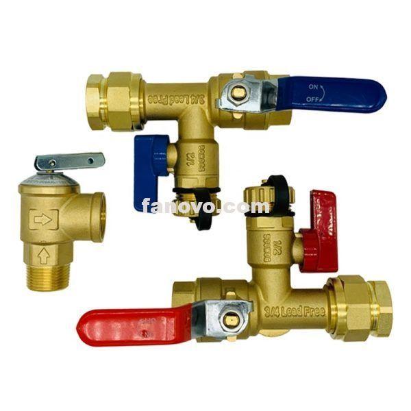 3 4 Npt Isolator Tankless Water Heater Valve Kit With Pressure Relief Valve Water Heater Tankless Water Heater Relief Valve
