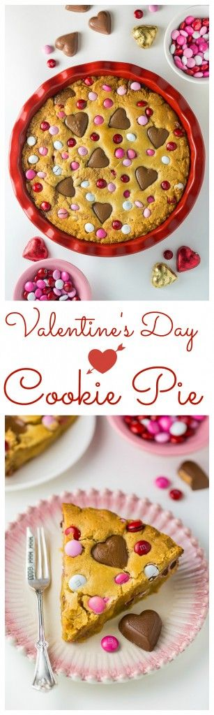 This deep dish Valentine's Day Cookie Pie is loaded with festive M&M's and Heart Shaped Peanut Butter Cups! Happy National Pie Day!!! How are you celebrating? (Obvious answer: With PIE!!!) Today's also the fabulous Mariska Hargitay's birthday, which I'll be celebrating with a Law & Order marathon this evening. But I digress! Let's focus on …