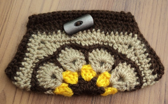 Brown African Flower PURSE with button by IstanbulMystique on Etsy, $12.95