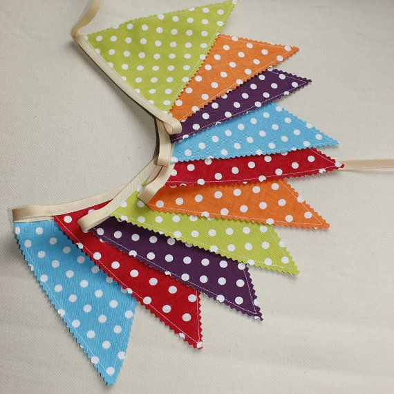 Party Bunting Rainbow Flags Fabric Garland by PopelineDeco on Etsy