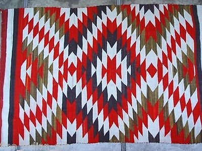 Antique Navajo Indian Rug Transitional Blanket with Red and Green C 1890-*-*-bin4356