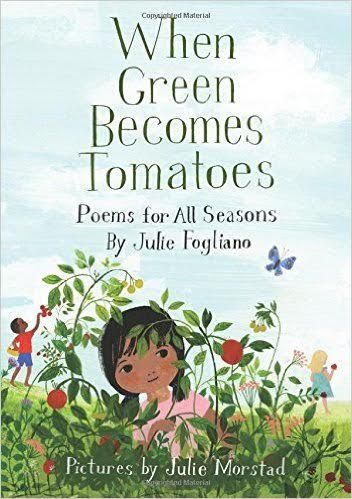 Multiracial children depicted in gauche and pen and ink illustrations record their joyful interaction with the seasons in free verse in a diary style format. When Green Becomes Tomatoes By Julie Fo…