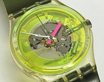 Vintage Swatch Watch Techno Sphere GK101 1985 Skeleton See Through Clear Yellow Green Jelly Bands Retro Valentines Gift
