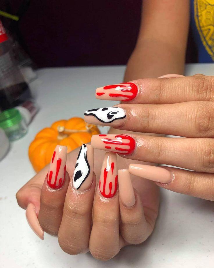 Meine Arbeit 🦇🍁🎃 # gruselig #spookynails #halloween #halloweennails #spidernail …   – Cool nail art