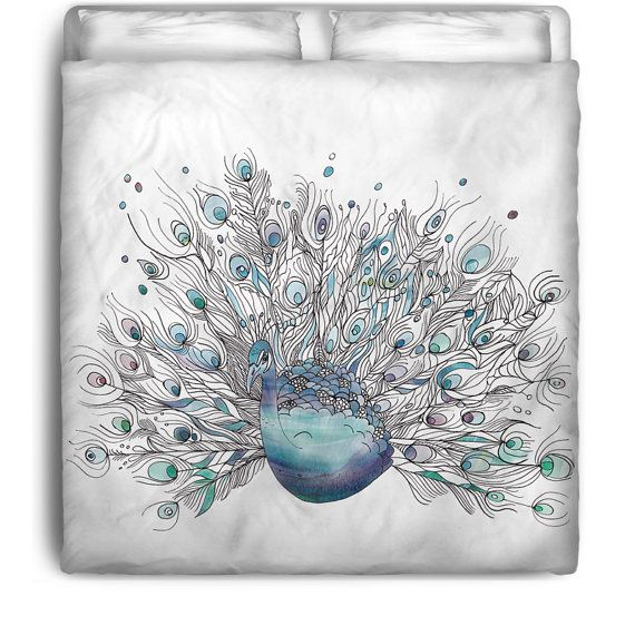 Peacock bedding glory days duvet or comforter peacock illustrated blue purple white - Peacock bedspreads ...