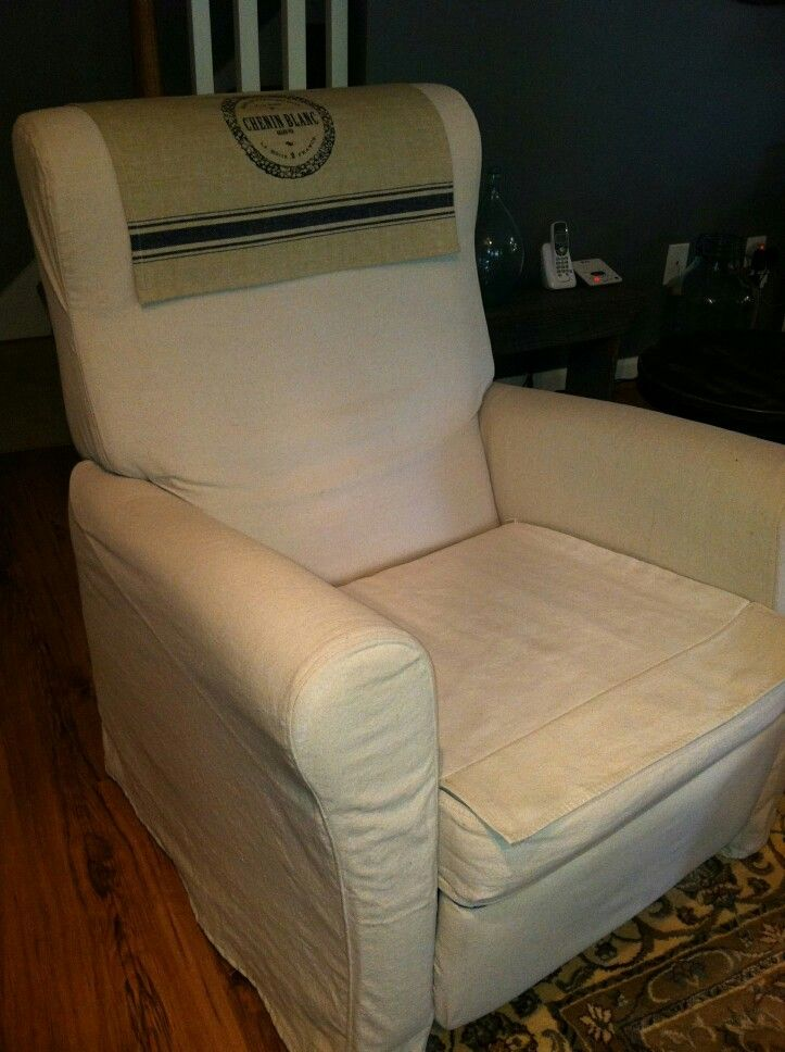 Ikea recliner with drop cloth slip cover