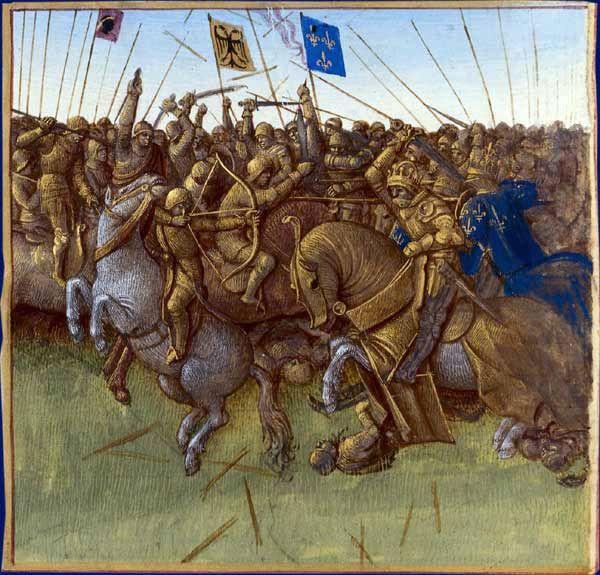 """BNF 6465, fol. 154v - La victoire de Louis III et Carloman II sur les Vikings en 879 par Jean Fouquet """"Grandes Chroniques de France"""" avant 1481- 2) BATAILLE DE SAUCOURT EN VIMEU: En novembre 880, ils se trouvèrent à Courtrai, en décembre Cambrai et Arras flambèrent. En 881, ce fut au tour d'Amiens et de Corbie d'être saccagées. Mais en aout 881, le roi LOUIS III remporta sur l'envahisseur une 1° grande victoire à Saucourt en Vimeu (l'actuel hameau de Saucourt situé entre Valines,..."""