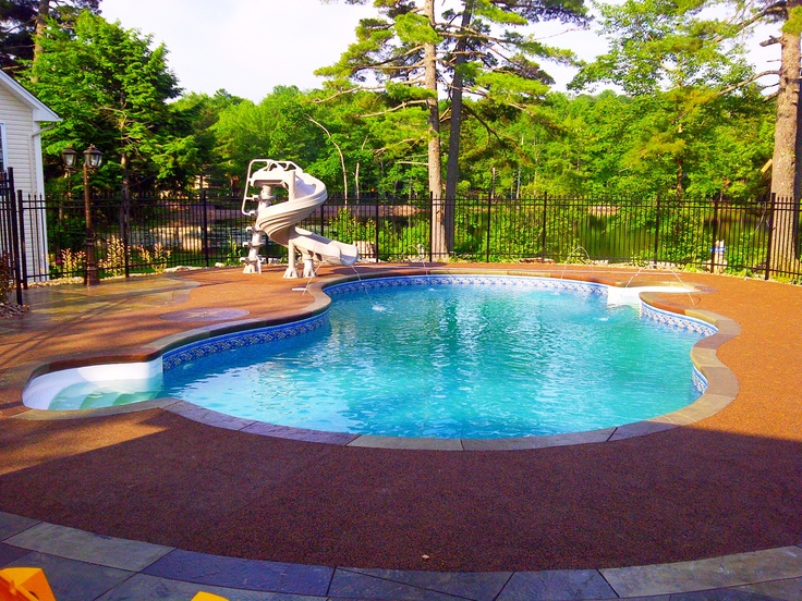 Traditional In Ground Pool 2010 Jets Shooting Water Into The Pool Gorgeous Lake In The