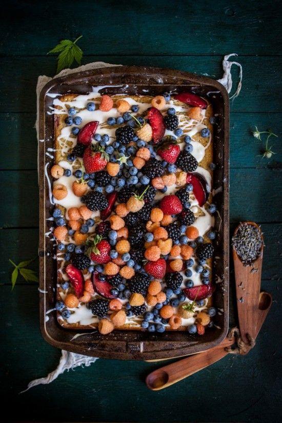 Lavender Plum Berry Sheet Cake with a Lemon Vanilla Glaze via Adventures in Cooking #recipe