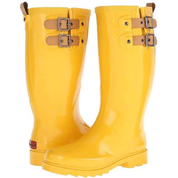 Chooka Top Solid Rain Boot Women's Rain Boots, Yellow ($49) ❤ liked on Polyvore featuring shoes, boots, yellow, wellington boots, chooka boots, slip on boots, yellow shoes and wellies boots