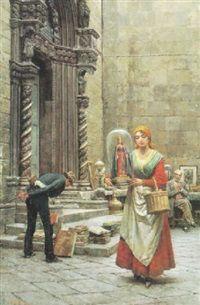 Vor dem prachtvollen Kirchenportal an der Piazza dellGesu bietet ein neapolitanischer Antiquitätenhändler seine Ware an par Fortunino Matania
