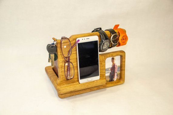 Gift for men, gift for him, docking station with photo frame, iPhone stand, night stand with photo,