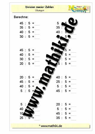Division mit 5 - ©2011-2016, www.mathiki.de - Ihre Matheseite im Internet #math #division #arbeitsblatt #worksheet