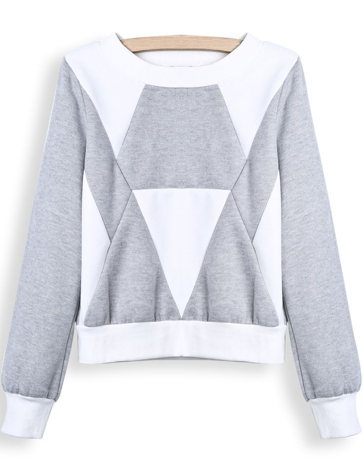 Grey White Long Sleeve Geometric Print Crop Sweatshirt US$25.41
