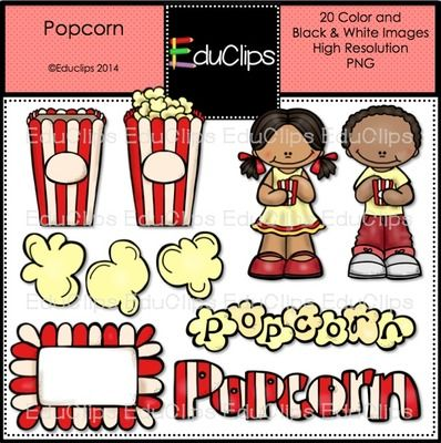 FREE Popcorn Clip Art Bundle from Educlips on TeachersNotebook.com -  (20 pages)  - FREE Popcorn Clip Art Bundle