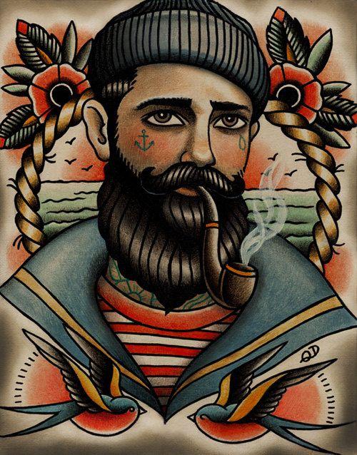 Seemann-Tattoo-Kunstdruck von ParlorTattooPrints auf Etsy
