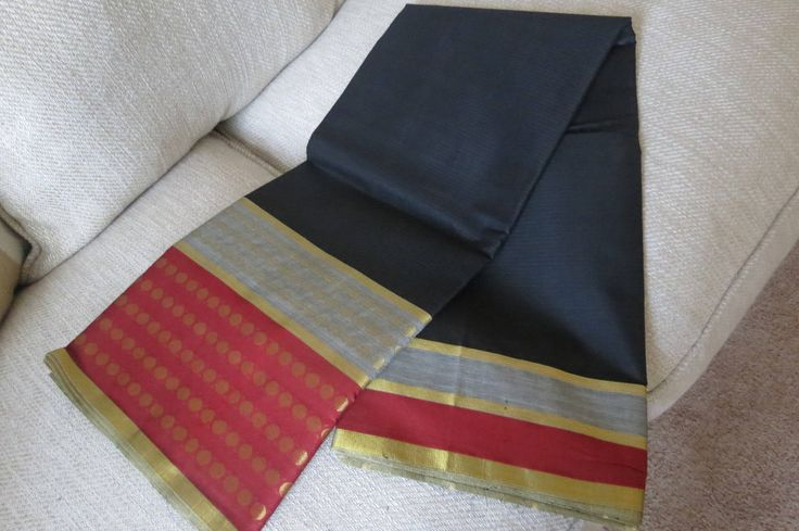 Chennai Black cotton sari with red border by ZainabBoutique on Etsy