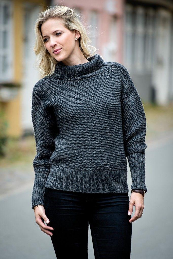 1495: Grå sweater med brede ribkanter i Easy Care Big. Fra Efterår/Vinter Kollektion 2016.   Mayflower Easy Care Big