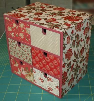 Ikea Moppe unit covered in French General fabrics. This is awesome. I must do this !
