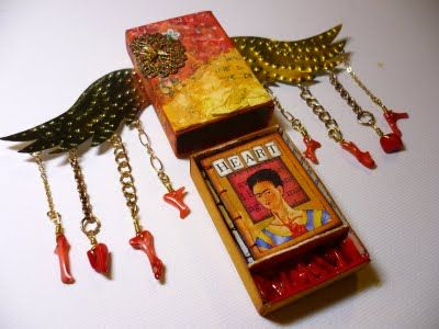 Frida Kahlo Altered Matchbox {with a sweet mini book tucked inside}