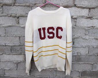 Vintage Sweater USC Knit 1980s Trojans University of Southern California Preppy Grunge Collegiate Team Sports Football Unisex Large