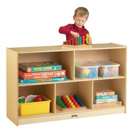 Jonti-Craft Baltic Birch Low Single Mobile Storage Unit at School Outfitters
